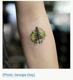 watercolor yellow-green pine tree tattoo