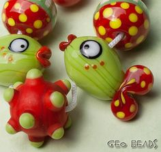 Geo Beads 'with Love'  set of 7 artisan lampwork by GlassGeoBeads, $25.00 Etsy<3<3<3FAB FISH<3<3<3