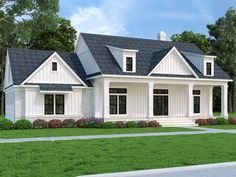021H-0281: Southern House Plan with Covered Front Porch Modern Farmhouse Plans, Farmhouse Design, Farmhouse Style, Farmhouse Renovation, Country Style, Built In Dressing Table, French Doors With Sidelights, Double French Doors, Multipurpose Room