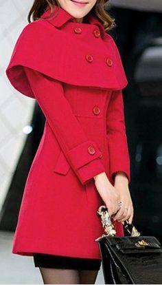 red capelet coat