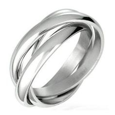 Triple Russian Interlocked Stainless Steel Men Unisex Wedding Band Rings size 7, (comfort fit, unique, wedding band, anniversary, bands, bridal, bridesmaid, gift for women, inexpensive, stainless) mens wedding bands