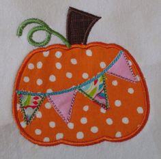 Girls Pumpkin Pennant Applique shirt $22