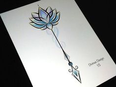 Colorful Lotus flower Arrow Tattoo Design and Stencil - Instant Digital Spine Tattoos, New Tattoos, Small Tattoos, Tattoo Pain, Ankle Tattoos, Tiny Tattoo, Word Tattoos, Sternum Tattoo, Sleeve Tattoos