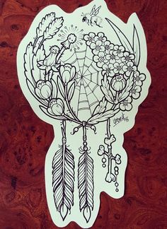 thigh tattoo idea of a natural dreamcatcher, incorporating a bumble bee, wildflowers, feathers, and a spiders web. amazing concept in black and white or color, pin: morganxwinter