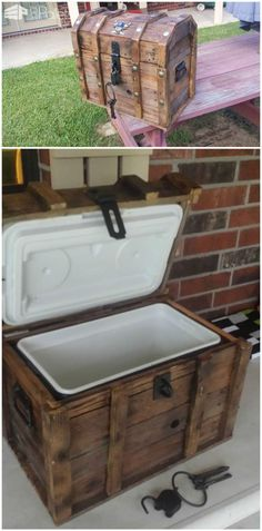 I simply made a platform the size of the bottom of the cooler and then built a box up from there. I removed the lid from the cooler and attached it directly to the lid of the chest. The bottom…