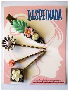 PEQUEÑO JARDÍN BLANCO SET - Despeinada Sweet and Romantic Hair Pins Retro Styled Vintage Garden White Pink Green Antique Bronze