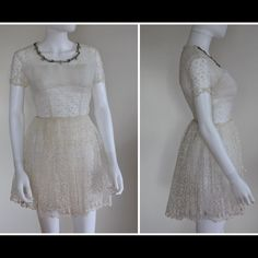 Vintage 50'S Mesh Embroidered Lace Mini Dress