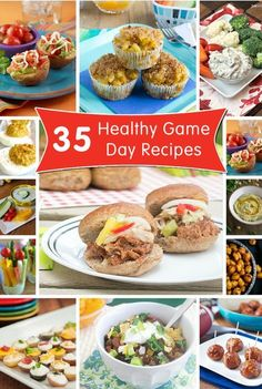 35 Healthy Game Day Recipes - dips, appetizers, small bites and main dishes for a healthy spread! Healthy Appetizers, Appetizer Recipes, Dinner Recipes, Clean Eating Snacks, Healthy Eating, Healthy Food, Healthy Treats, Yummy Treats, Cooking Recipes