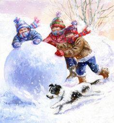 Jim Mitchell - kids n dog contrast Illustration Noel, Winter Illustration, Christmas Illustration, Winter Images, Winter Pictures, Christmas Pictures, Christmas Scenes, Christmas Art, Winter Christmas