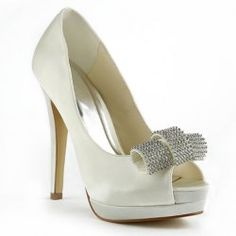 Gorgeous Women's Peep Toe Wedding Shoes With Rhinestones and Bowknot Design