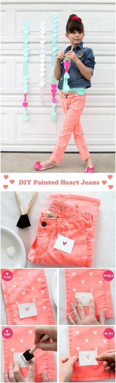 DIY Painted Heart Jeans DIY Clothes DIY Refashion