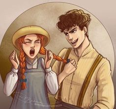 """""""Like a fly sticks to glue, we'll stick together just me and you!"""" Day Anne Shirley and Diana Barry (Anne of Green Gables the Musical) Gilbert Blythe, Jonathan Crombie, Anne Auf Green Gables, Diana Barry, Character Art, Character Design, Anne Green, Gilbert And Anne, Anne White"""