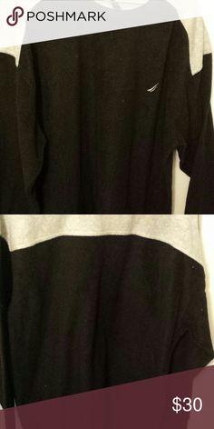 Nautica Fleece top Black fleece top with grey top across shoulders on back and grey on shoulders. nautica Shirts Sweatshirts & Hoodies