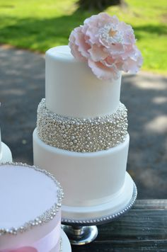 Blush and Silver Wedding cake with silver dragees and peony.