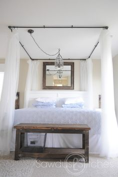Now this DIY canopy actually looks doable! Take It From Me: DIY Canopy Bed Tutorial (Guest Post) Home Bedroom, Bedroom Decor, Bedrooms, Bedroom Ideas, Master Bedroom, Bedroom Furniture, Bed Ideas, Ikea Furniture, Bedroom Lighting