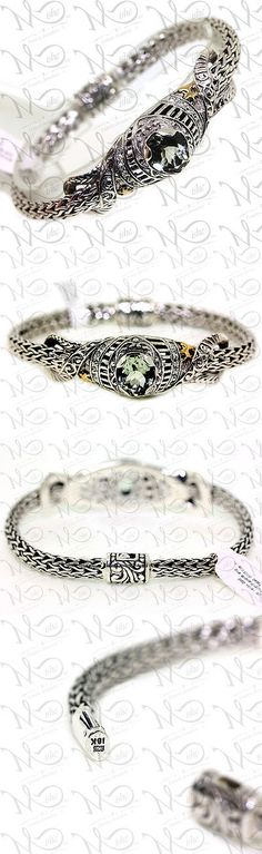 Gemstone 164315: New Bali Design 925 Silver 18K Yellow Gold Prasiolite Swiss Blue Topaz Bracelet -> BUY IT NOW ONLY: $199.2 on eBay!