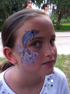 #dolphinfacepaint Dolphin Face Paint, Carnival, Painting, Carnavals, Painting Art, Paintings, Painted Canvas, Drawings