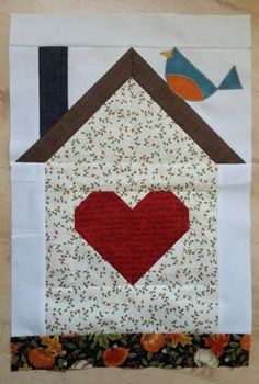 Be My Neighbor Patterns House Quilt Patterns, Paper Piecing Patterns, Quilt Block Patterns, Pattern Blocks, Bird Quilt Blocks, House Quilt Block, Quilting Projects, Quilting Designs, Farm Quilt