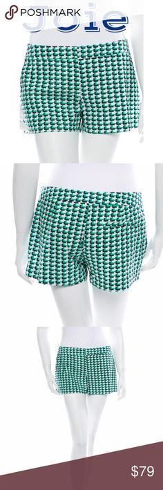 """NWOT Joie Shorts - Sz 4/S - Retail $198 NWOT Joie green, creme and navygeometric print shorts with slit pockets and zip at top featuring hook and eye closure. Pristine condition. New without tags. Material:97% Cotton, 3% Spandex.Measurements: waist 30"""", hip 36"""", rise 8"""", inseam 4"""", leg opening 22"""". Size 4/S. Retail $198.  ✅Always Authentic✅ ⬇️Bundle & Get 10% Off & Save on Shipping⬇️ ❌Trades❌PayPal❌ Joie Shorts"""