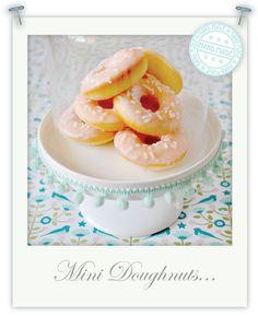 Gluten free vanilla doughnuts with strawberry glaze.