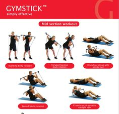 GYMSTICK CORE WORKOUT Improve core stability with our poster illustrating eight suggested Gymstick exercises that focus on your mid section. CLICK ON PICTURE to download the entire poster for FREE. #howtogymstick