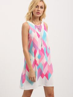 Multicolor Geometric Print Sleeveless Shift Dress