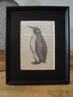 FRAMED  Vintage Book Page Print  Penguin by CantonBoxCompany, $15.00