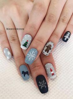 Nail Art Noel, Xmas Nail Art, Christmas Gel Nails, Holiday Nail Art, Christmas Nail Art Designs, Winter Nail Art, Autumn Nails, Nail Art For Christmas, Winter Nails Colors 2019