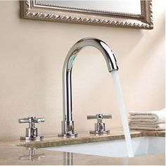 Deck Mounted Widespread Bathroom Basin Faucet Dual Cross Handles Sink Mixer Tap #strongpop