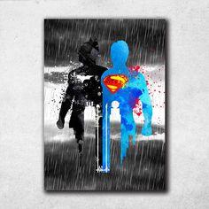 Batman VS Superman Poster, Watercolor Print, Justice League Wall Art, DC Comics Decor, Kids Room Wall Hanging by PointDot on Etsy Batman Vs Superman Poster, Superman Man Of Steel, Superbat, Canvas Paintings, Watercolor Print, Diy Wood, Justice League, Comic Art, Dc Comics