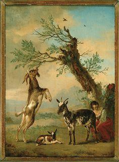 Philips Wouwerman, Geiten met een melkend meisje (Goats with a milking girl)…