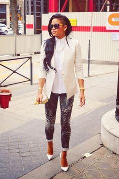 White blazer, blue jeans, skinnies