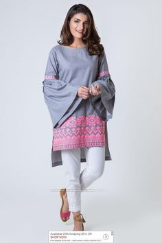 Khaadi Luxury Pret 2017 - Original Online Shopping Store Whatsapp: 00923452355358 Website: www. Stylish Dresses For Girls, Stylish Dress Designs, Simple Dresses, Casual Dresses, Fashion Dresses, Frock Fashion, Denim Dresses, Casual Wear, Pakistani Fashion Casual