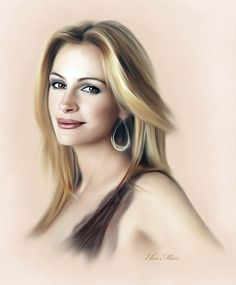 Portrait Mastery - Julia Roberts - painting by Ebn Misr/ This is also done with color pencils. Stunning work Discover The Secrets Of Drawing Realistic Pencil Portraits Julia Roberts, Portrait Au Crayon, Pencil Portrait, Realistic Pencil Drawings, Amazing Drawings, Celebrity Drawings, Celebrity Portraits, Art Pastel, Actrices Sexy