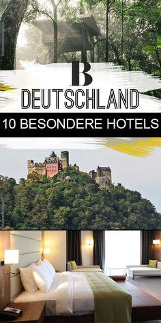 Hoteltipps: Zehn besondere Hotels in Deutschland. Für Sie neu entdeckt: zehn besondere Hotels in Deutschland - auf dem Land, in der Stadt und auf Bäumen. Ob ein Bio-Hotel in Bayern, ein Baumhaus in Niedersachsen, ein Schloss in Mecklenburg-Vorpommern oder ein Turm in Hessen... Eine Übernachtung in diesen Hotels ist ein absolutes Highlight!