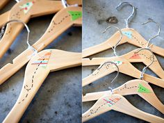 Love the simplicity feeling of movement in the paper airplane design. From Under The Sycamore. Kids Hangers, Baby Hangers, Clothes Hangers, Gifts For New Moms, Gifts For Boys, Under The Sycamore, Diy Gifts, Craft Gifts, Airplane Design