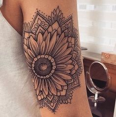 Collection of hippie tattoo images in collection) 1000 Tattoos, Elbow Tattoos, Neue Tattoos, Finger Tattoos, Body Art Tattoos, Cool Tattoos, Tatoos, Floral Skull Tattoos, Sunflower Mandala Tattoo