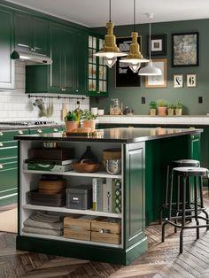 Green Kitchen Island, Dark Green Kitchen, Green Kitchen Cabinets, Kitchen Cabinet Design, Kitchen Countertops, Diy Kitchen, Kitchen Decor, Green Kitchen Interior, Kitchen Ideas