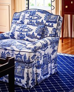 Schumacher Nanjing Porcelain 174431 is part of Blue white decor - Schumacher Fabric Nanjing Blue Willow China, Blue And White China, Blue Rooms, White Rooms, Nanjing, Chinoiserie Fabric, Upholstered Furniture, White Decor, My Living Room