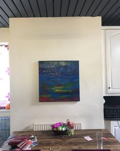 Lovely to see a present for a very dear friend in situ.  #weddingpresent #abstractart #homedecor #abstractart #abstractpainting #blue #newhome #oilpainting