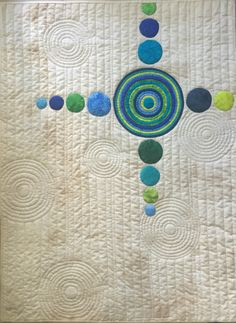 "Finished ""Concentric"" tonight .... It's 28"" x 38"" #scrappybluequilts #vancouver"