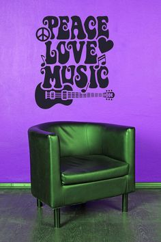 Peace Love Music Guitar Hippie   Decal by VinylWallAdornments, $32.00