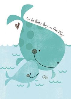 Baby Whale - Baby Shower Card - http://www.247babygifts.net/baby-whale-baby-shower-card/