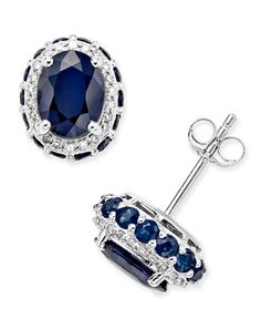 Blue Sapphire (3-7/8 ct. t.w.) and White Sapphire (1/5 ct. t.w.) Oval Stud Earrings in 10k White Gold