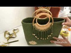 Makrome Çanta Yapımı Part 3 - YouTube Crochet Bag Tutorials, Crochet Videos, Crochet Crafts, Crochet Placemats, Crochet Shoulder Bags, Craft Bags, Basket Bag, Crochet Handbags, Macrame Patterns