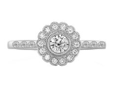 love it - European Engagement Ring - Flower Drum Engagement Ring in 14K White Gold - ERES1255