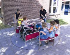 This integrated carousel, with space for wheelchairs, is just one piece of equipment that may be a part of the new, inclusive playground in ...