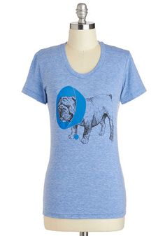 Sit, Stay, Heal Tee - Mid-length, Blue, Casual, Short Sleeves, Print with Animals, Jersey, Scoop