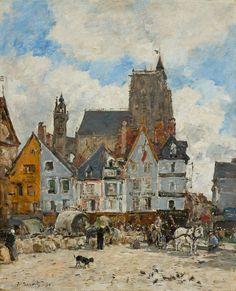Eugène Boudin (French, 1824 - 1898)  Abbeville. La place Courbet in Saint-Vulfran, 1894