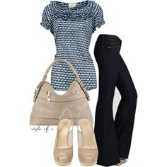 Blue Print Top, created by styleofe on Polyvore